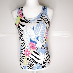 Nordic Track Blue/Black Floral Fitness Tank Top M